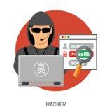 Concepto cibernético del crimen con el pirata informático Fotos de archivo libres de regalías