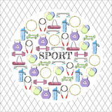 Concepto circular de fondo del equipo de deporte Imagen de archivo