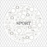Concepto circular de fondo del equipo de deporte Imagen de archivo libre de regalías