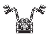 Concepto clásico monocromático de la vista delantera de la motocicleta Imagen de archivo