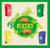 Concepto colorido de la ecología de las papeleras de reciclaje con paisaje y basura Fotografía de archivo libre de regalías