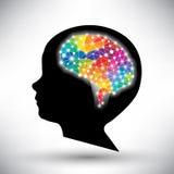 Concepto colorido del cerebro humano Imagenes de archivo