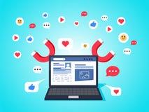Concepto colorido del ejemplo para el márketing digital, campaña social, involucrandose con los seguidores ilustración del vector