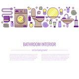 Concepto colorido del equipo del baño de BATHROOM-END ilustración del vector