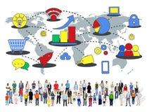 Concepto comercial de comercialización del crecimiento del negocio global medios Fotos de archivo libres de regalías