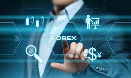 Concepto comercial de Internet del negocio de la moneda del intercambio de la inversión del mercado de acción de las divisas Fotos de archivo libres de regalías