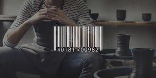 Concepto comercial de la información del precio de Digitaces del código de barras imagen de archivo