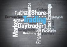Concepto comercial de la nube de la palabra de la bolsa de acción del daytrader Imagen de archivo libre de regalías