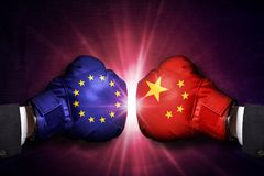 Concepto comercial del conflicto entre China y la unión europea imágenes de archivo libres de regalías