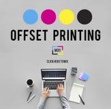 Concepto compensado de los medios de la industria del color de la tinta del proceso de impresión foto de archivo