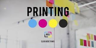 Concepto compensado de los medios de la industria del color de la tinta del proceso de impresión foto de archivo libre de regalías