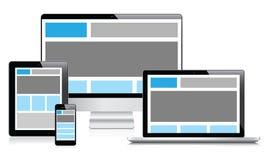 Diseño web completamente responsivo en dispositivos electrónicos   Imágenes de archivo libres de regalías
