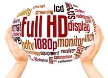 Concepto completo de la esfera de la mano de la nube de la palabra de HD foto de archivo libre de regalías