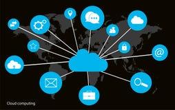 Concepto computacional de la nube con el neón del interfaz del mapa del mundo imágenes de archivo libres de regalías