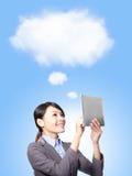 Concepto computacional de la nube en asunto Foto de archivo