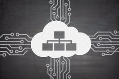 Concepto computacional de la nube en la pizarra Imágenes de archivo libres de regalías