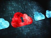 Concepto computacional de la nube: Nube con el ojo de la cerradura encendido Imágenes de archivo libres de regalías