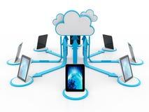 Concepto computacional de la nube, red de la nube representación 3d fotos de archivo libres de regalías