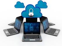 concepto computacional de la nube de la representación 3d, red de la nube Imagen de archivo libre de regalías