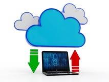 concepto computacional de la nube de la representación 3d, red de la nube Foto de archivo libre de regalías