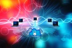 concepto computacional de la nube de la representación 3d, red de la nube Imagen de archivo