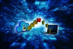 concepto computacional de la nube de la representación 3d, red de la nube Fotografía de archivo