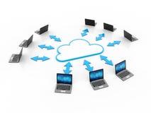 concepto computacional de la nube de la representación 3d, red de la nube ilustración del vector