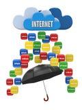Concepto computacional de la nube. Virus, protección del Spam Imágenes de archivo libres de regalías