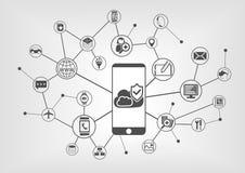 Concepto computacional de la seguridad de la nube para los teléfonos elegantes Fondo de la ilustración del vector ilustración del vector