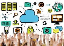 Concepto computacional del voluntario de la ayuda de los datos de la nube de las manos de la diversidad imágenes de archivo libres de regalías