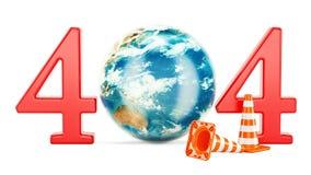 concepto 404 con el globo giratorio de la tierra, representación 3D