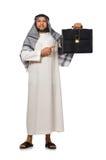 Concepto con el hombre árabe aislado Imágenes de archivo libres de regalías