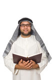 Concepto con el hombre árabe aislado Imagen de archivo libre de regalías