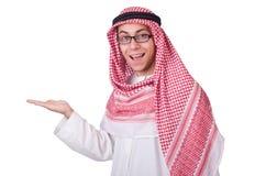 Concepto con el hombre árabe aislado Foto de archivo libre de regalías