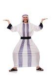 Concepto con el hombre árabe aislado Fotos de archivo
