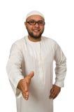 Concepto con el hombre árabe aislado Foto de archivo