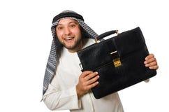 Concepto con el hombre árabe aislado Fotos de archivo libres de regalías