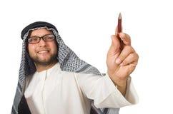 Concepto con el hombre árabe aislado Imagen de archivo