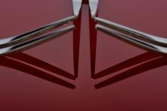 Concepto con la bifurcación en el fondo rojo V Fotografía de archivo libre de regalías