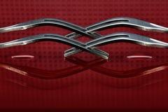 Concepto con la bifurcación en fondo rojo Fotografía de archivo libre de regalías