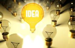 Concepto con las bombillas, ejemplo de la idea Imagen de archivo libre de regalías