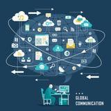 Concepto con los iconos de la comunicación global stock de ilustración
