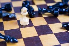 Concepto con los pedazos de ajedrez en un tablero de ajedrez de madera Fotos de archivo libres de regalías