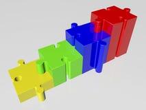 Concepto con los pedazos del rompecabezas en diversos colores Fotos de archivo