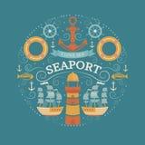 Concepto con símbolos del mar Fotografía de archivo