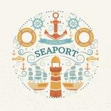 Concepto con símbolos del mar Imagen de archivo libre de regalías