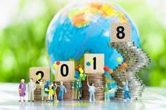 Concepto 2018, concepto de la Feliz Año Nuevo del negocio Fotografía de archivo libre de regalías