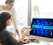 Concepto conectado acceso remoto de la tecnología de los abejones foto de archivo