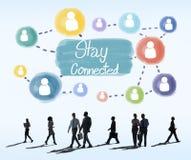 Concepto conectado estancia de Internet del establecimiento de una red de la comunicación imágenes de archivo libres de regalías