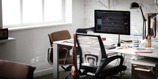 Concepto contemporáneo de los materiales de oficina del lugar de trabajo del sitio foto de archivo libre de regalías